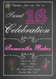 sweet 16 birthday invitations chalk board design
