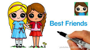 how to draw two cute girls easy best friends forever youtube