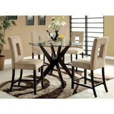 Round Glass Top Dining Table Sets Foter - Tropical dining room sets counter height