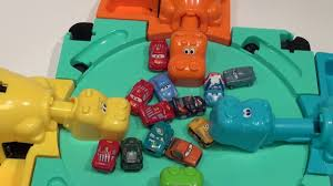 cars sally and lightning mcqueen hungry hungry hippo eats 14 pixar cars micro drifters lightning