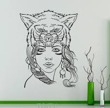 cute wolf mask wall decal wild animals vinyl sticker wild