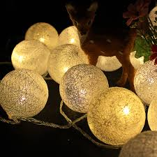 warm led christmas lights 6cm fabric cotton ball l 5m 20 fairy led string light garland