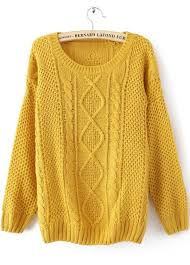 yellow sweater yellow neck broken stripe cable sweater shein sheinside