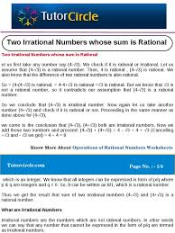 two irrational numbers whose sum is rational numbers fraction