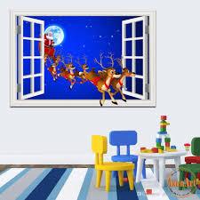 3d Wallpaper Home Decor Merry Christmas Sticker Window Scenery 3d Wallpaper Wall Decal