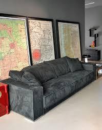 baxter budapest soft sofa in grey leather baxter