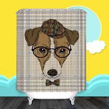 Curtain Cartoon by Dog Cartoon With Funny Hat Unique Bathroom Shower Curtain Unique