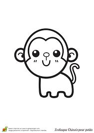 dessin à colorier signes du zodiaque chinois pour petits le singe