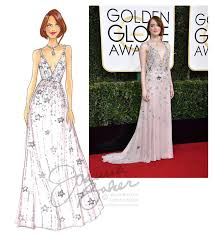 golden globes red carpet emma stone fashion illustrations and globe