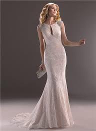 classic mermaid keyhole neckline champagne color lace wedding dress