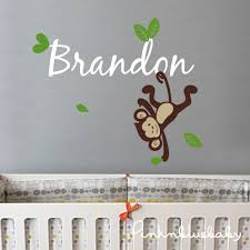 Boy Nursery Wall Decal Nursery Wall Decals Boy Monkey Custom Name Decal Wall