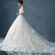 off the shoulder half sleeves lace cathedral train ball gown