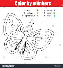 coloring page butterfly color by numbers stock vector 450249757