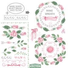 watercolor pink roses decor brushes and wreath template stock