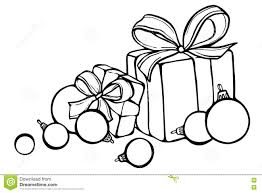 christmas sketch with gifts and christmas balls illustration