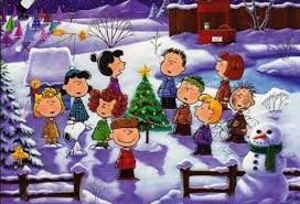 peanut christmas tree snoopy woodstock and the entire peanuts standing in the snow