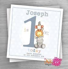 personalised handmade boys train 1st first birthday card son