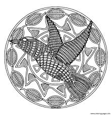 free mandala difficult to print bird coloring pages printable