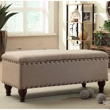 Nailhead Storage Ottoman Porch Den Los Feliz Finley Upholstered Storage Bench With
