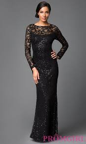 image of long sleeve floor length sequin embellished lace dress