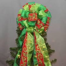 red and green glitter swirl burlap christmas tree topper bow