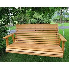 Patio Swing Springs Amazon Com 4 U0027 Cedar Porch Swing Amish Crafted W Stained Finish