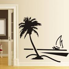 compare prices on sailboat plastic online shopping buy low price 89x78cm large vinyl paper wall stickers home decor decal coconut palm tree sailboat decals art decoratooom