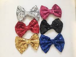 custom hair bows costume sequin hair bows silver gold royal blue black