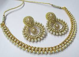 necklace set buy golden pearl and pearl polki necklace set online