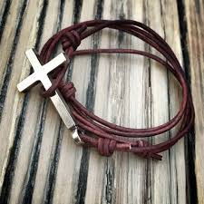 cross cord bracelet images Faith classic cross leather bracelet red bronze honor emblem jpg