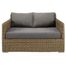 canape de jardin canapé de jardin 2 places en résine tressée et coussins gris