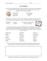 Fun French Worksheets Cognates U2013 A Good Sub Plan U2013 The Comprehensible Classroom