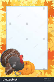 thanksgiving frame border turkey cook pumpkin stock illustration