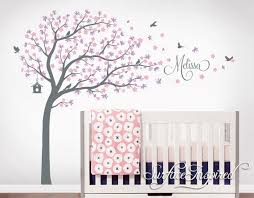 Cherry Blossom Wall Decal For Nursery Tree Wall Decal Nursery Large Tree Wall Decals Personalized