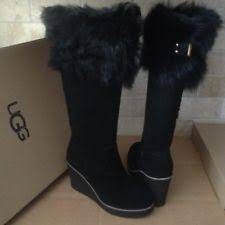 ugg womens boots size 8 ugg australia lodge nightfall suede leather fur boots womens size