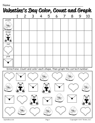 free printable valentine u0027s day color count and graph worksheet