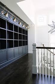 ebony wood floors beautifully complement dark gray built in