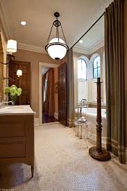 Free Standing Drapes Kohler Freestanding Tub Bathroom Contemporary With Accent Wall