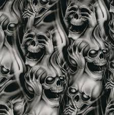see no evil speak no evil hear no evil skull demon tattoo design