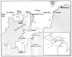 peninsula michigan map map of the big bay de noc area including fayette in the
