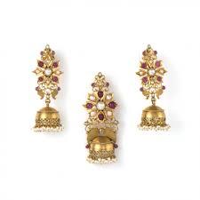 jhumki style earrings jhumki style pendant and earrings set gold arnav jewellery