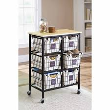 Kitchen Cabinet On Wheels Better Homes And Gardens 6 Drawer Wire Cart Black Walmart Com