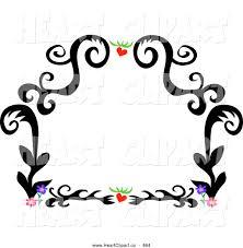 flower border clipart clip art of a black tattoo plant design