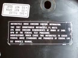 dmv motorcycle manual 99 xr650l epa noise emissions label xr600 650 thumpertalk