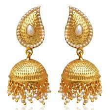 big jhumka gold earrings tear drop mango jhumka jhumki south indian gold tone