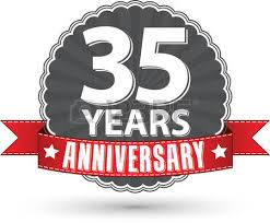 35 year anniversary celebrating 1 year anniversary retro label with ribbon vector