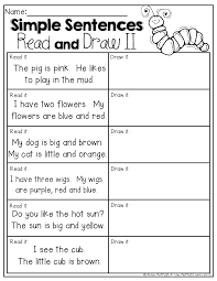 read and draw read the simple sentences and draw a picture to
