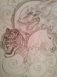 pinks dragon tattoo 2 dragon tiger rat horse chinese tattoo by vicktoria z luna on
