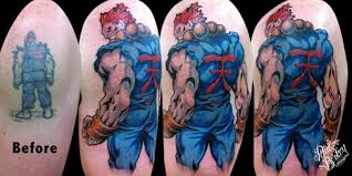 incredible grey ink street fighter tattoo real photo pictures