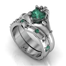 claddagh set 10k white gold green white cz claddagh ring wedding ring set